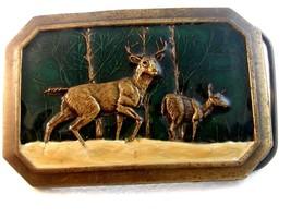 Vintage 1976 Bergamont 2 Deer in the Woods Belt Buckle - $32.99