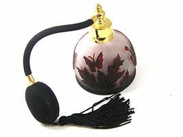 Gold Tone Orange & Black Art Glass Butterfly Perfume Bottle & Atomizer 1117 - $54.99