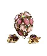 1950's Pink Purplish Aurora Borealis Rhinestones Brooch Earrings Unmarke... - $64.99