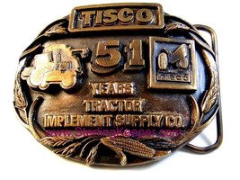 1988 Tisco Tractor Implement Supply Co. Brass Belt Buckle Limited Edition - $16.99