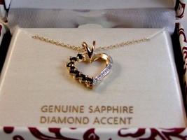 Sterling Silver & 18Kt & Sapphire & Diamond Accent Heart Pendant Chain - $24.99