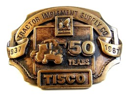1986 Tisco Tractor Implement Supply Co. Brass Belt Buckle Limited Edition - $16.99