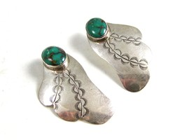 Navajo Sterling Silver & Turquoise Earrings Signed J.N. - $94.99