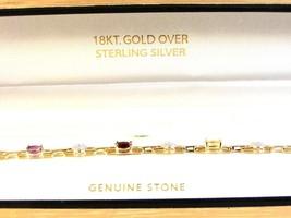 Sterling Silver  w/ 18K Gold Overlay & Natural Stones Bracelet MIB - $54.99