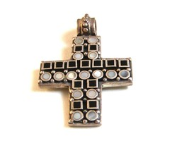 Vintage Sterling Silver & Mother of Pearl & Black Onyx Cross - $44.99