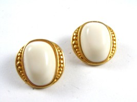 Goldtone & White Clip On Earrings Marked ?? 7SA ???? 72414 - $19.99