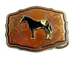 1970's Paint Horse Enameled Coppertone Belt Buckle 092214 - $34.99