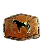 1970's Paint Horse Enameled Coppertone Belt Buc... - $31.49