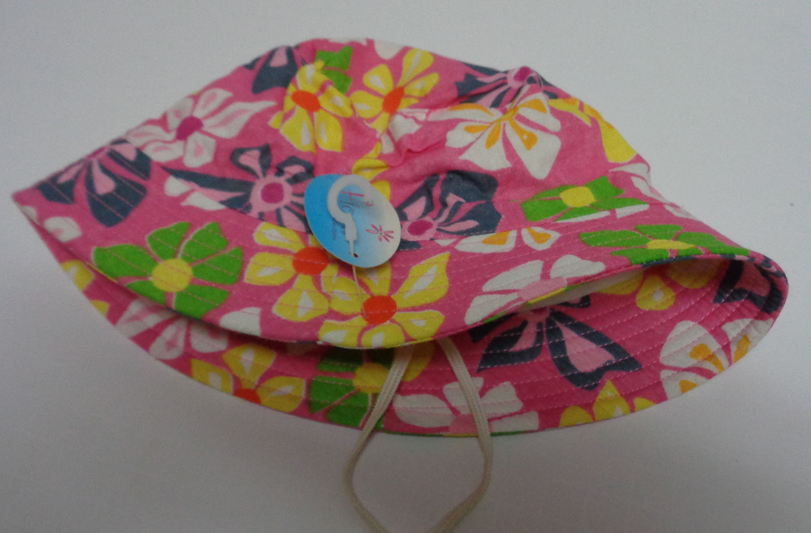 Girl's Pink Flower 100% Cotton Spring Hat NWT Toddler Small