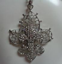 Fleur De Lis Necklace LARGE Silver Plated Rhinestones Accents NIB - $10.88