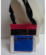 Cross Body Purse Multi-Color Multi-Pocket NWT Blue Pink White Black  Adj... - $8.90