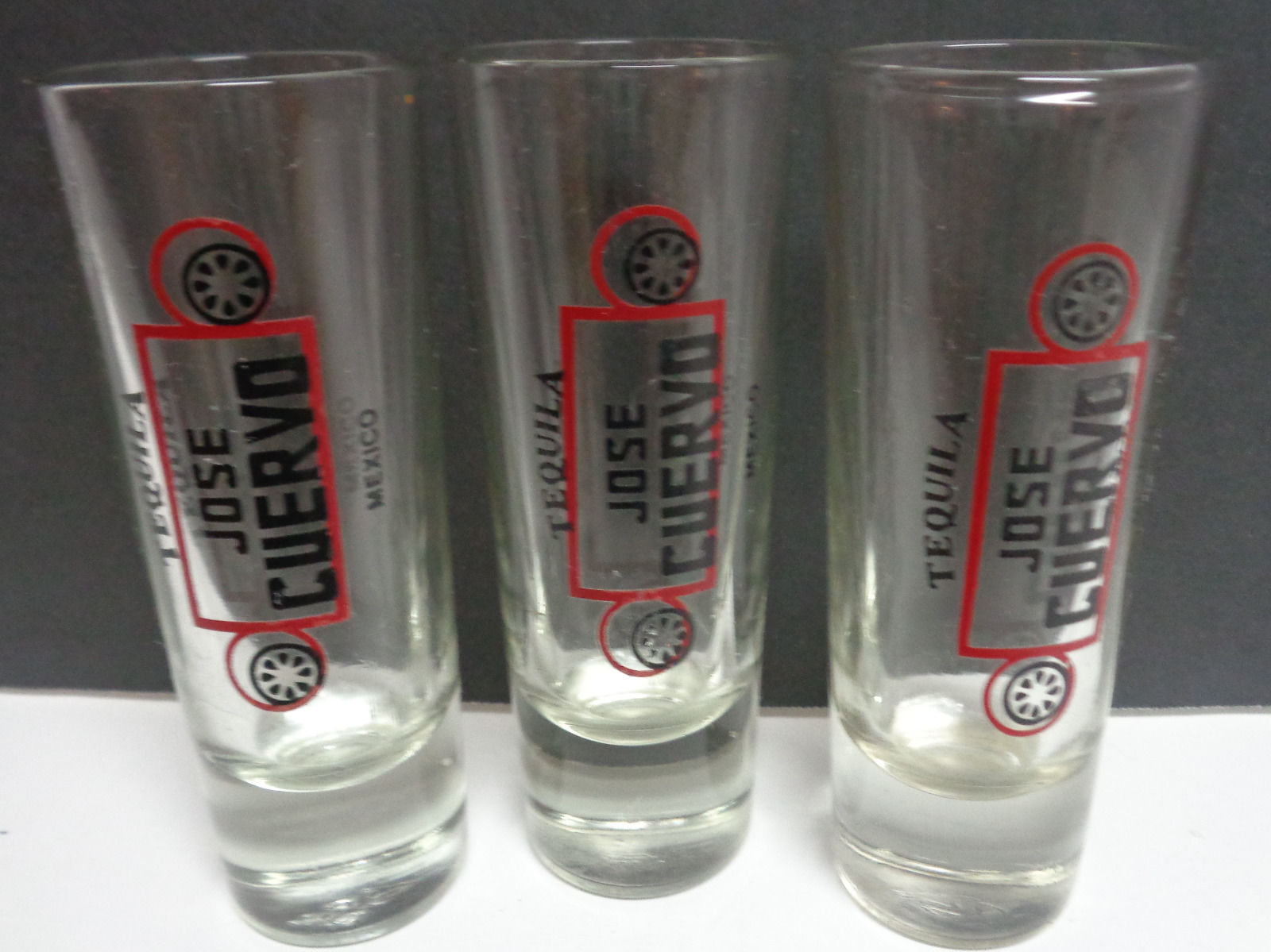 Jose Cuervo Tequila Tall Shooter Glasses SET OF THREE
