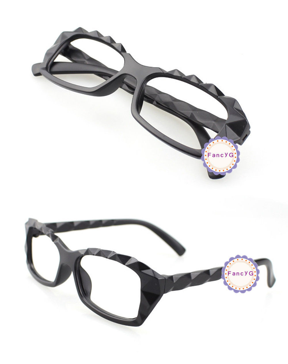 Mat Black Retro Classic Diamond Cut Fashion Glasses Frame Unisex Eyewear No Lens