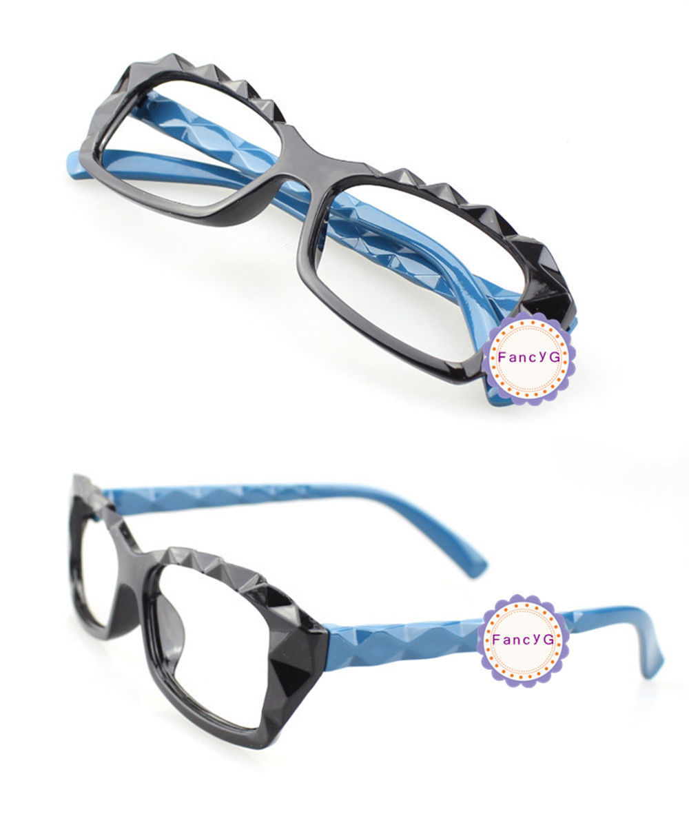 Black Blue Retro Classic Diamond Cut Fashion Glass Frame Unisex Eyewear No Lens