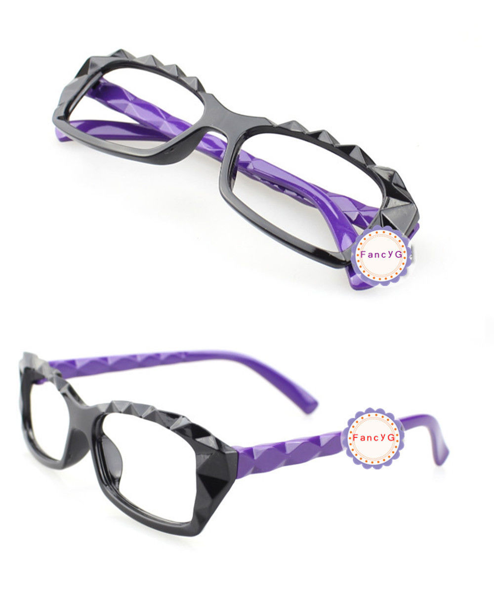 Purple Retro Classic Diamond Cut Fashion Glasses Frame Unisex Eyewear No Lens