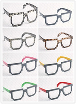 Retro 8 Bit Pixel Geek Gamer Style Pixelated Glass Frame No Lens Costume... - $5.99