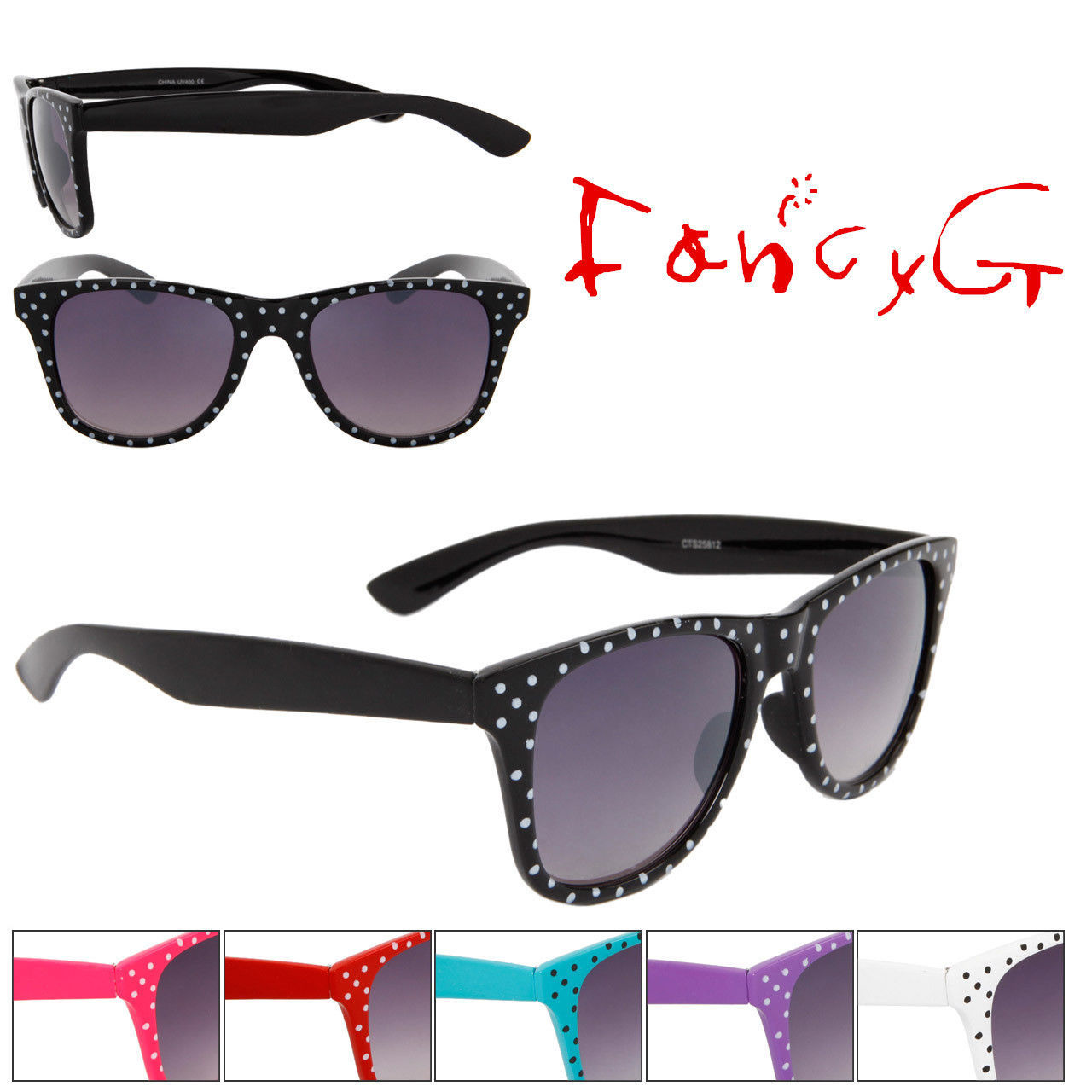 12 Assorted Unisex Fashion Sunglasses Polka Dots UV 400 Protection