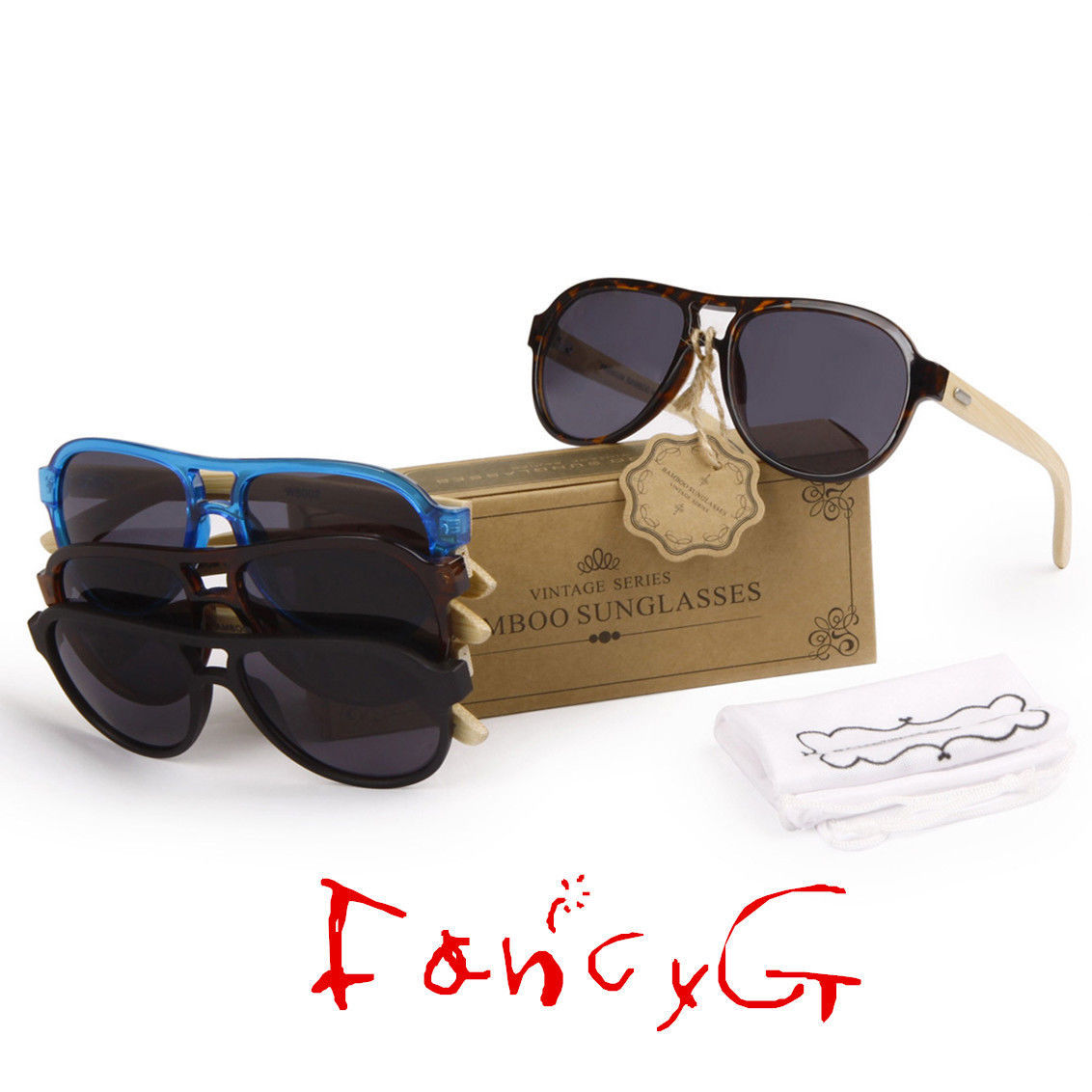 12 Assorted Luxury Style Bamboo Wood Fashion Sunglasses UV 400 Protection
