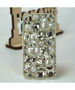 Luxury Handmade Crystal Diamond Pearl Heart White Case for iPhone 4 iPho... - $8.99