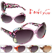 12 x Women's Fashion Sunglasses Transparent Frames with Colorful Patterns - $49.49