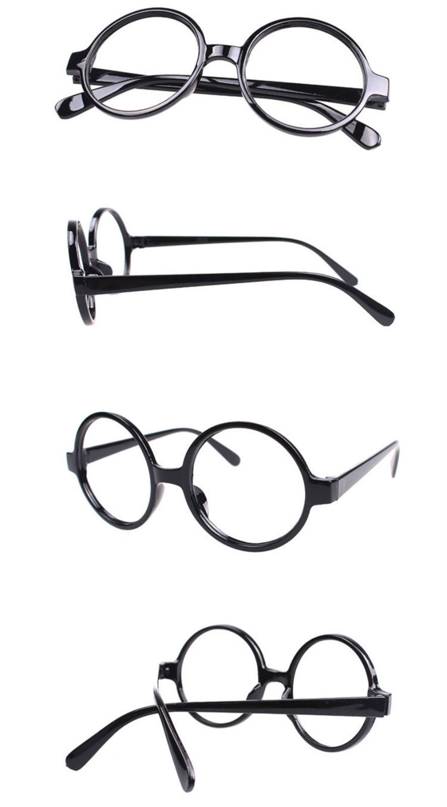 Halloween Costume Eyewear Glasses Frame Wizard Round Vintage Nerd Black NO LENS