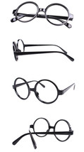 Halloween Costume Eyewear Glasses Frame Wizard Round Vintage Nerd Black ... - $5.93