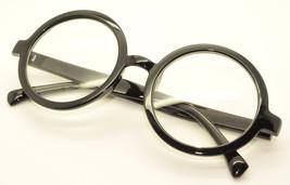 Black Vintage Geek Nerd Style Clear Lens Glasses Frames Wizard Round Eye... - $7.91