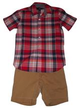 Gap Kids Boys Outfit Size M 8 Red White Blue Plaid Shirt Khaki Shorts New - $16.95