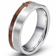 8MM Vintage Tungsten Ring Promise Wedding Band Koa Wood Sizes 7-15 & Half - $39.95