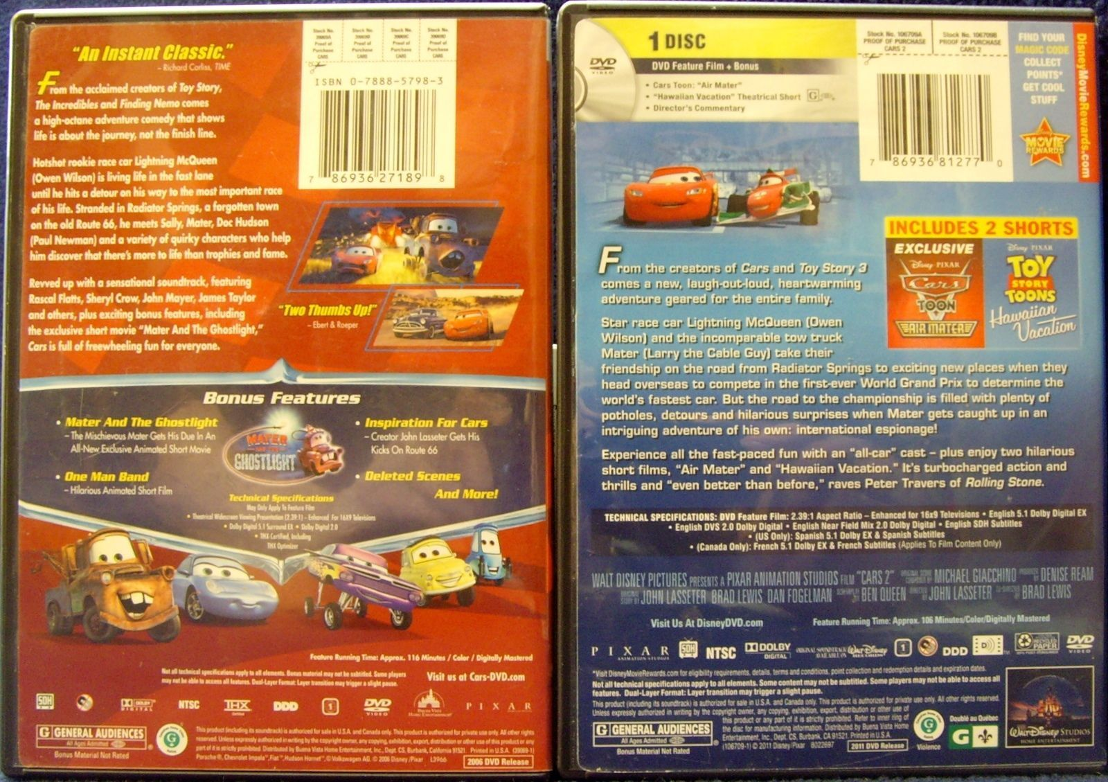 Disney Pixar Cars Cars 2 Dvd 2011 And 50 Similar Items