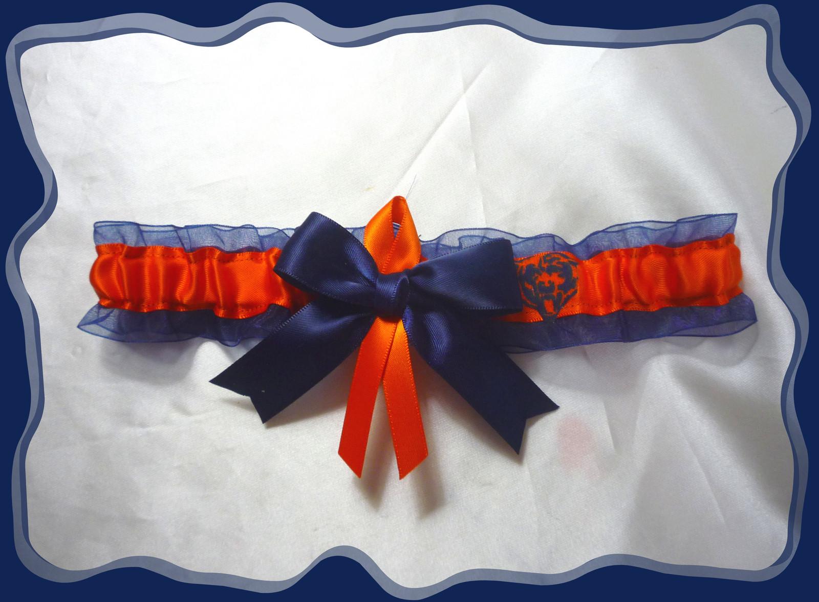 Chicago Bears Navy Organza Ribbon Wedding Garter Set