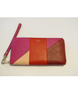 Fossil SL4952995 Giftable Patchwork Zip Clutch Wristlet Multi id leather... - $58.77