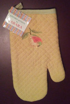 OVEN MITT POTHOLDER SET 2-pc with Embroidered Pear Fruit Yellow Green image 4
