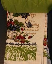 BERRY FRUIT KITCHEN SET 7pc Towels Potholders Oven Mitt Cloths Berries Green NEW image 5