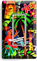 Dancing Hawaiian Girls Flowers Palm Trees Single Gfci Light Switch Plate Decor - $8.09