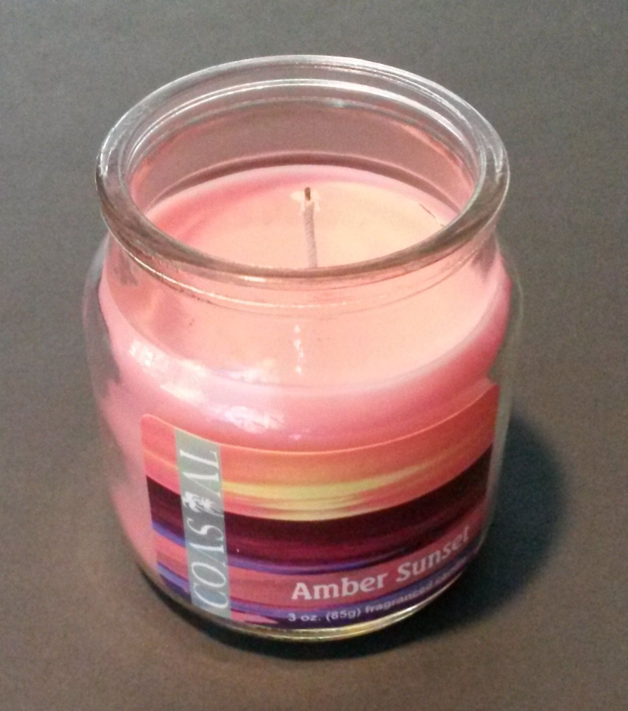 Fragranced Candle in Glass Jar Pink Amber Sunset Scented 3 oz NEW
