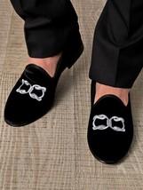 Mens Black Velvet Shoes,Handmade Men Embroidered Velvet casual Shoes Sli... - $130.15 CAD