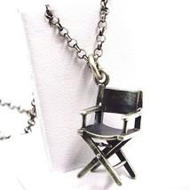 Halskette Silber Anhänger 925, Brüniert Matt, Stuhl die Filmer, Kette Rolo - $85.35