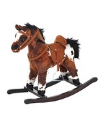 Qaba Kids Metal Plush Ride-On Rocking Horse Chair Toy with Realistic Sou... - $55.64