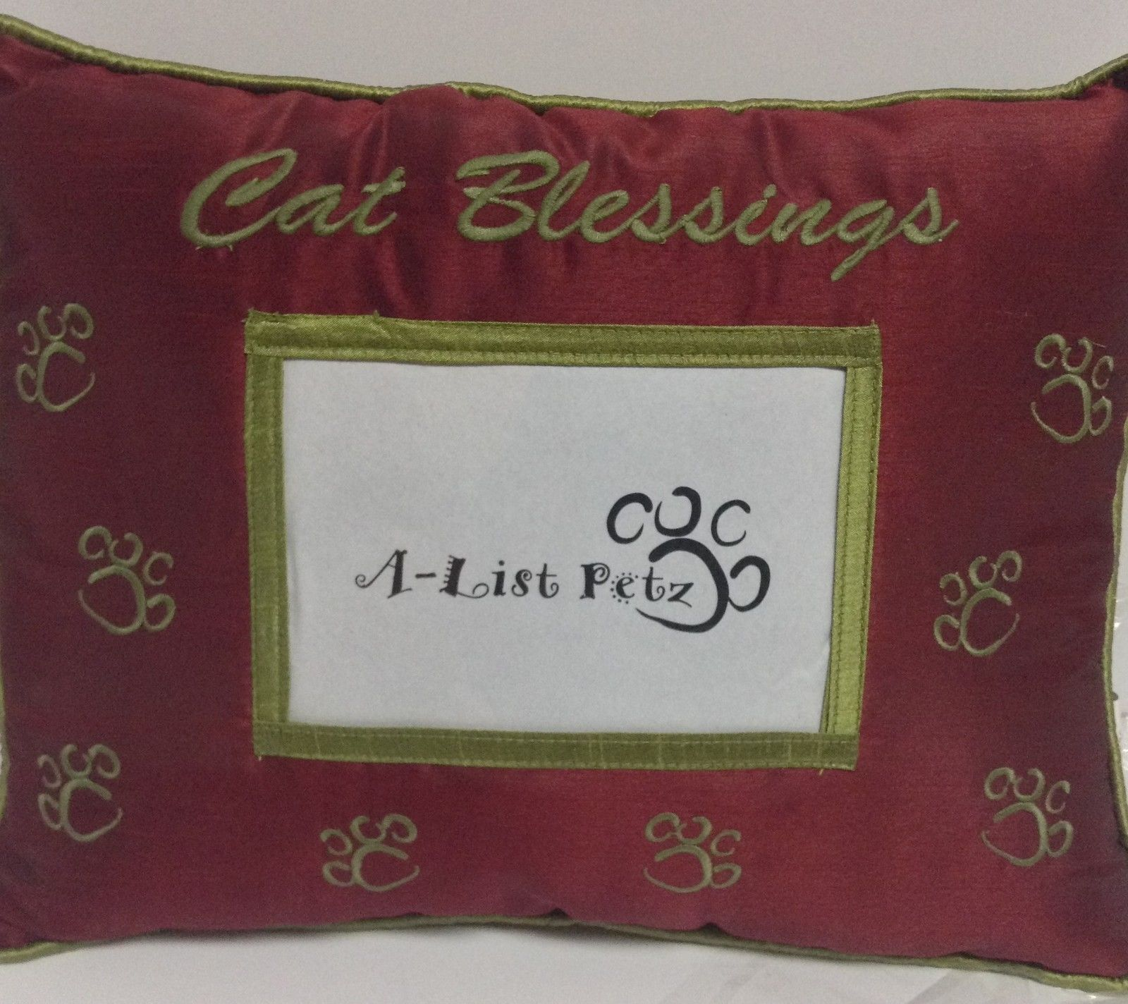 Pet Pillow With Photo Pocket CAT BLESSINGS Red NWT