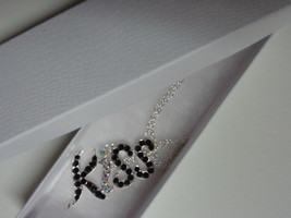 """KISS Silver Plated Necklace Rhinestones Accents NIB 18"""" - $9.89"""