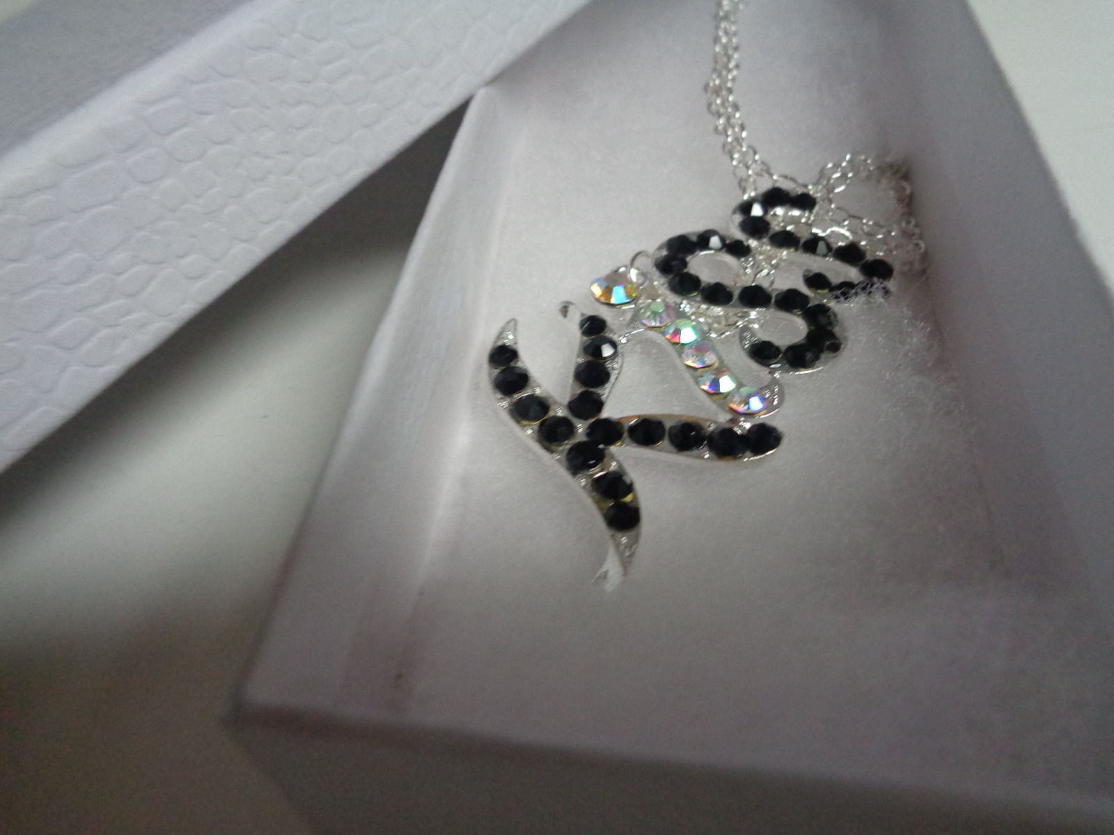 """KISS Silver Plated Necklace Rhinestones Accents NIB 18"""""""