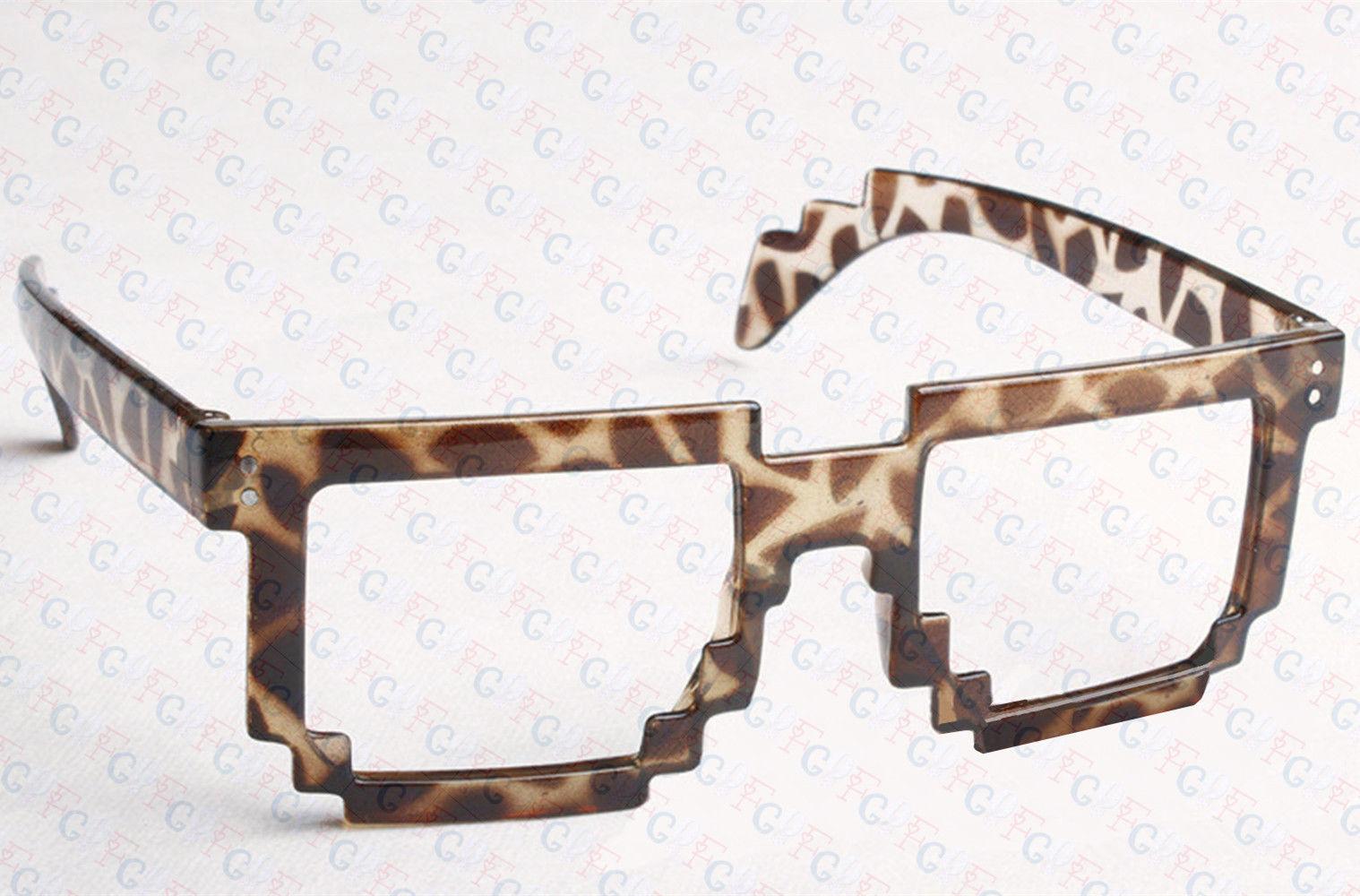 8 Bit Pixel Retro Pixelated Glasses Geek Nerd Computer Cartoon Party No Lenses