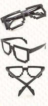 Retro 8 Bit Pixel Geek Gamer Style Pixelated Glass Frame No Lens Costume Cosplay image 5