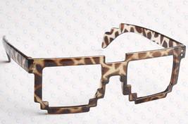Retro 8 Bit Pixel Geek Gamer Style Pixelated Glass Frame No Lens Costume Cosplay image 2