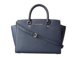 Michael Kors Women's Selma Large Top Zip Satchel Satchel Handbag Navy - $230.00