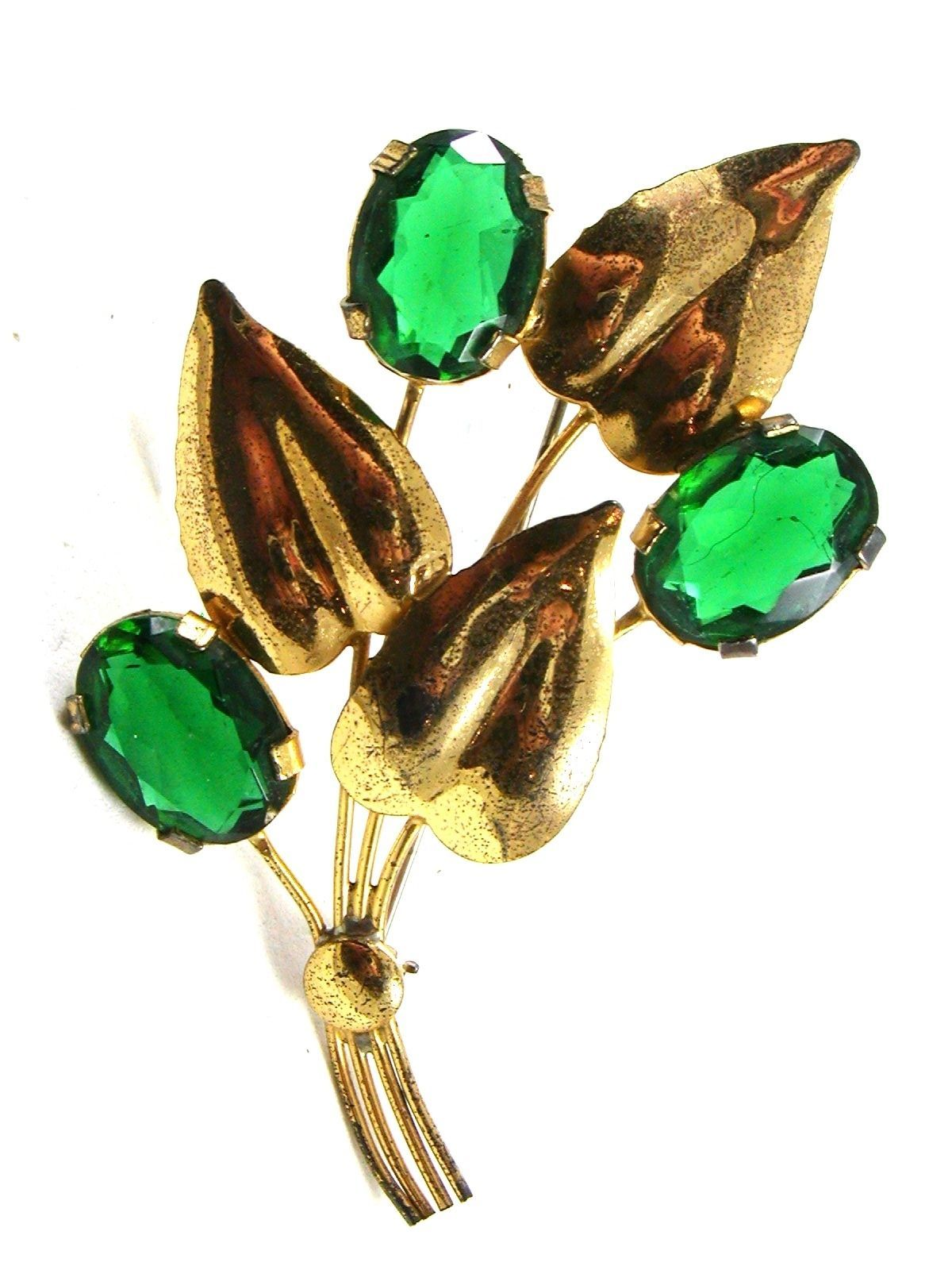 1950's Retro Sterling Silver Gold Vermeil Green Brooch 72214