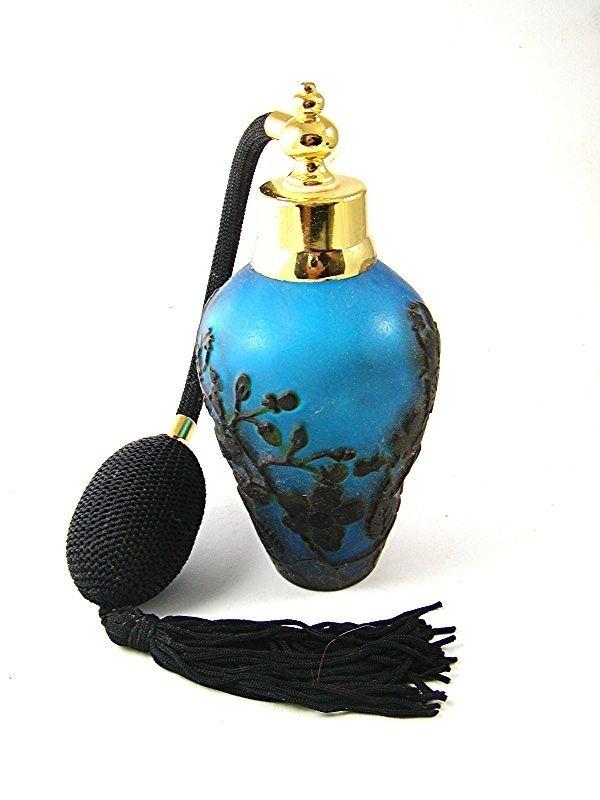 Gold Tone Blue & Black Art Glass Flowers Perfume Bottle & Atomizer 1117abc