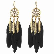 Vintage Bohemian Dream Catcher Hollow Out Feather Drop Earrings - $29.99