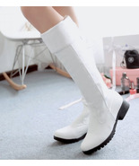 88B056 adjustable cylinder low heeled boot, lace up back,Size 4-11, white - $52.80